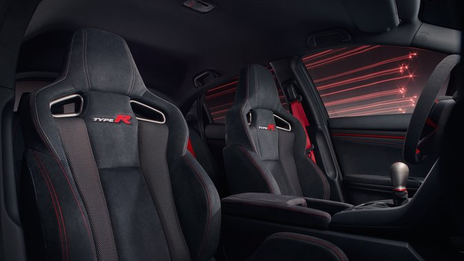 Close up of interior sport seats in Honda Civic Type R Euro car.